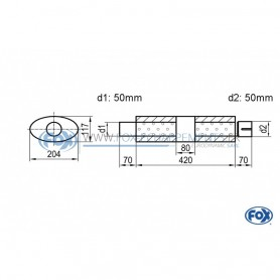 Silencieux universel type 525 en inox / 204x117mm / d1 Ø50mm / longueur 420mm
