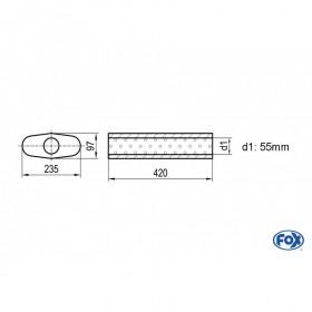 Silencieux universel type 558 en inox / 235x97mm / d1 Ø55mm / longueur 420mm