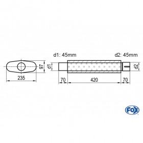 Silencieux universel type 558 en inox / 235x97mm / d1 Ø45mm / longueur 420mm