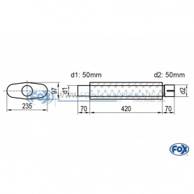 Silencieux universel type 558 en inox / 235x97mm / d1 Ø50mm / longueur 420mm