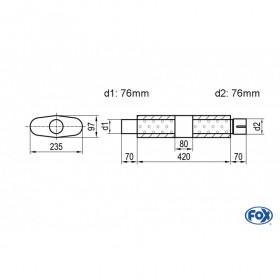 Silencieux universel type 558 en inox / 235x97mm / d1 Ø76mm / longueur 420mm