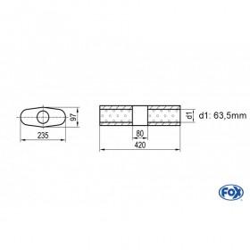 Silencieux universel type 558 en inox / 235x97mm / d1 Ø63.5mm / longueur 420mm