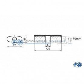 Silencieux universel type 558 en inox / 235x97mm / d1 Ø70mm / longueur 420mm