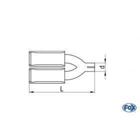 Embout d'échappement inox type 44 2x106x71mm / long 300 à 500mm / biseauté à 15°