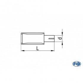Embout d'échappement inox type 45 1x140x90mm / long 300 à 500mm / biseauté à 15°