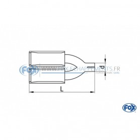 Embout d'échappement inox type 45 2x115x85mm / long 300 à 500mm / biseauté à 15°