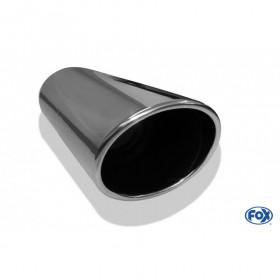 Embout d'échappement inox type 44 / 129x106mm / long 300mm / biseauté 15°