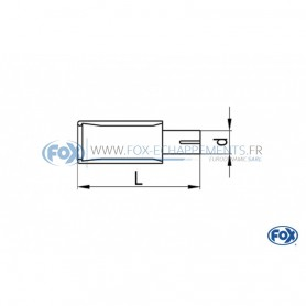 Embout d'échappement inox type 53 1x150x70mm / long 170 à 500mm