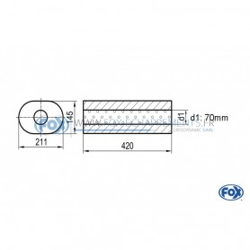 Silencieux universel type 585 en inox / 211x145mm / d1 Ø70mm / longueur 420mm