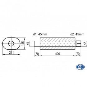 Silencieux universel type 585 en inox / 211x145mm / d1 Ø45mm / longueur 420mm