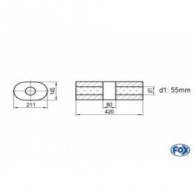 Silencieux universel type 585 en inox / 211x145mm / d1 Ø55mm / longueur 420mm