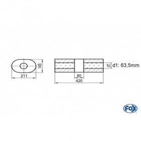 Silencieux universel type 585 en inox / 211x145mm / d1 Ø63.5mm / longueur 420mm