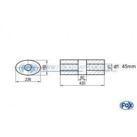 Silencieux universel type 618 en inox / 236x150mm / d1 Ø45mm / longueur 420mm