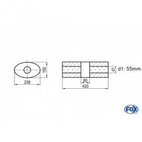 Silencieux universel type 618 en inox / 236x150mm / d1 Ø55mm / longueur 420mm