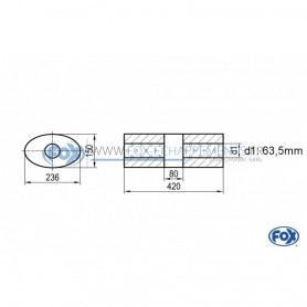 Silencieux universel type 618 en inox / 236x150mm / d1 Ø63.5mm / longueur 420mm