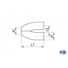 """Tube de connexion """"Y"""" inox / connexion Ø70mm/2x70mm"""