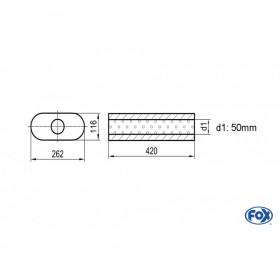 Silencieux universel type 650 en inox / 262x116mm / d1 Ø50mm / longueur 420mm