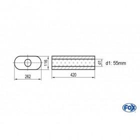 Silencieux universel type 650 en inox / 262x116mm / d1 Ø55mm / longueur 420mm