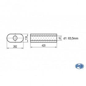 Silencieux universel type 650 en inox / 262x116mm / d1 Ø63.5mm / longueur 420mm