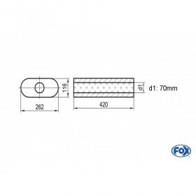 Silencieux universel type 650 en inox / 262x116mm / d1 Ø70mm / longueur 420mm