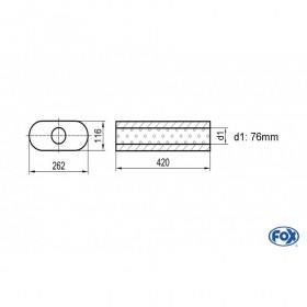 Silencieux universel type 650 en inox / 262x116mm / d1 Ø76mm / longueur 420mm
