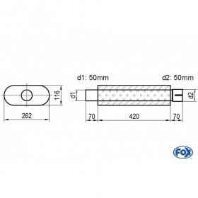 Silencieux universel type 650 en inox / 262x116mm / d1 Ø50mm/ d2 Ø50mm / longueur 420mm