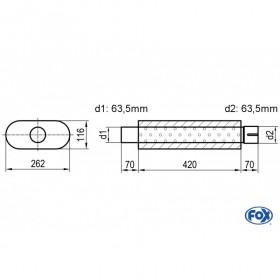 Silencieux universel type 650 en inox / 262x116mm / d1 Ø63.5mm/ d2 Ø63.5mm / longueur 420mm