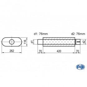 Silencieux universel type 650 en inox / 262x116mm / d1 Ø76mm/ d2 Ø76mm / longueur 420mm