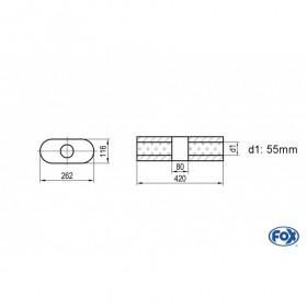 Silencieux universel type 650 en inox / 262x116mm / d1 Ø55mm/ longueur 420mm