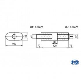Silencieux universel type 650 en inox / 262x116mm / d1 Ø45mm/ d2 Ø45mm/ longueur 420mm