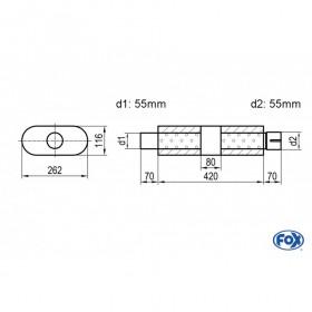 Silencieux universel type 650 en inox / 262x116mm / d1 Ø55mm/ d2 Ø55mm/ longueur 420mm