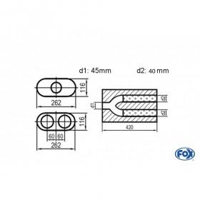 Silencieux universel type 650 en inox / 262x116mm / d1 Ø45mm/ d2 Ø40mm/ longueur 420mm