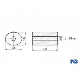 Silencieux universel type 754 en inox / 278x192mm / d1 Ø55mm/ longueur 420mm