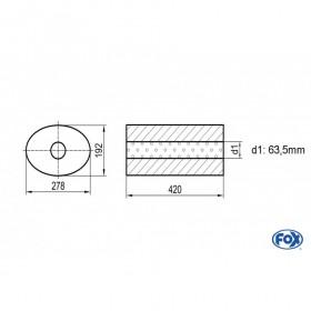 Silencieux universel type 754 en inox / 278x192mm / d1 Ø63.5mm/ longueur 420mm
