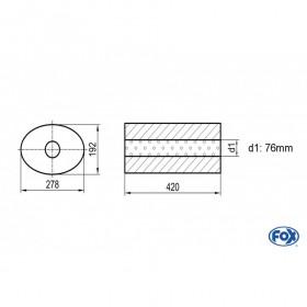 Silencieux universel type 754 en inox / 278x192mm / d1 Ø76mm/ longueur 420mm