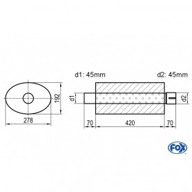 Silencieux universel type 754 en inox / 278x192mm / d1 Ø45mm/ d2 Ø45mm/ longueur 420mm