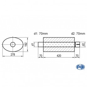 Silencieux universel type 754 en inox / 278x192mm / d1 Ø70mm/ d2 Ø70mm/ longueur 420mm