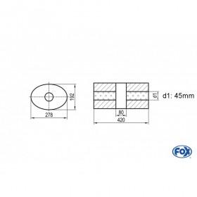 Silencieux universel type 754 en inox / 278x192mm / d1 Ø45mm/ longueur 420mm