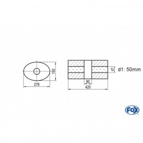 Silencieux universel type 754 en inox / 278x192mm / d1 Ø50mm/ longueur 420mm