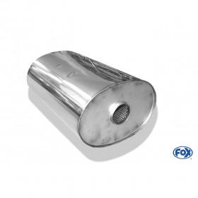 Silencieux universel type 754 en inox / 278x192mm / d1 Ø63mm/ longueur 420mm