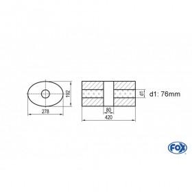 copy of Silencieux universel type 754 en inox / 278x192mm / d1 Ø76mm/ longueur 420mm