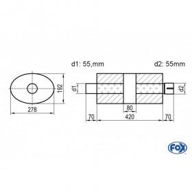 Silencieux universel type 754 en inox / 278x192mm / d1 Ø55mm/ d2 Ø55mm/ longueur 420mm