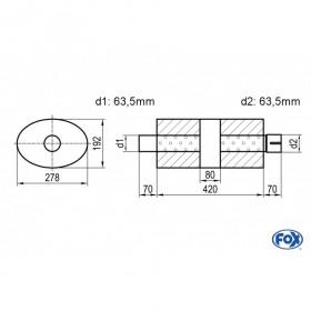 Silencieux universel type 754 en inox / 278x192mm / d1 Ø63.5mm/ d2 Ø63.5mm/ longueur 420mm