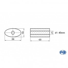 Silencieux universel type 818 en inox / 356x160mm / d1 Ø45mm/ longueur 420mm