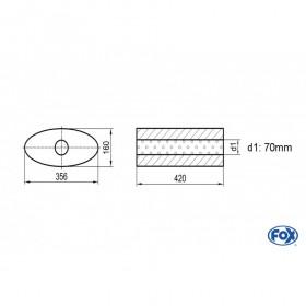 Silencieux universel type 818 en inox / 356x160mm / d1 Ø70mm/ longueur 420mm