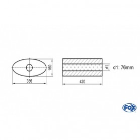 Silencieux universel type 818 en inox / 356x160mm / d1 Ø76mm/ longueur 420mm