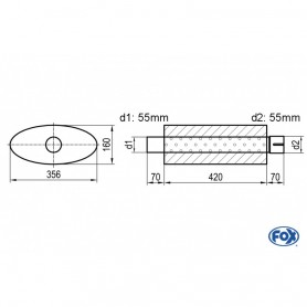 Silencieux universel type 818 en inox / 356x160mm / d1 Ø55mm/ d2 Ø55mm/ longueur 420mm