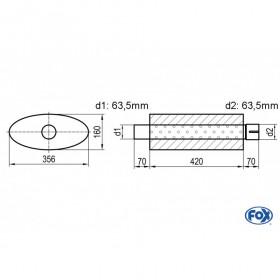 Silencieux universel type 818 en inox / 356x160mm / d1 Ø63.5mm/ d2 Ø63.5mm/ longueur 420mm