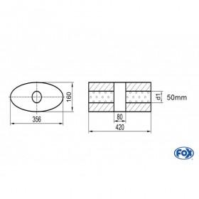Silencieux universel type 818 en inox / 356x160mm / d1 Ø50mm/ longueur 420mm