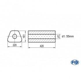 Silencieux universel type 644 en inox / 220x161mm / d1 Ø55mm/ longueur 420mm